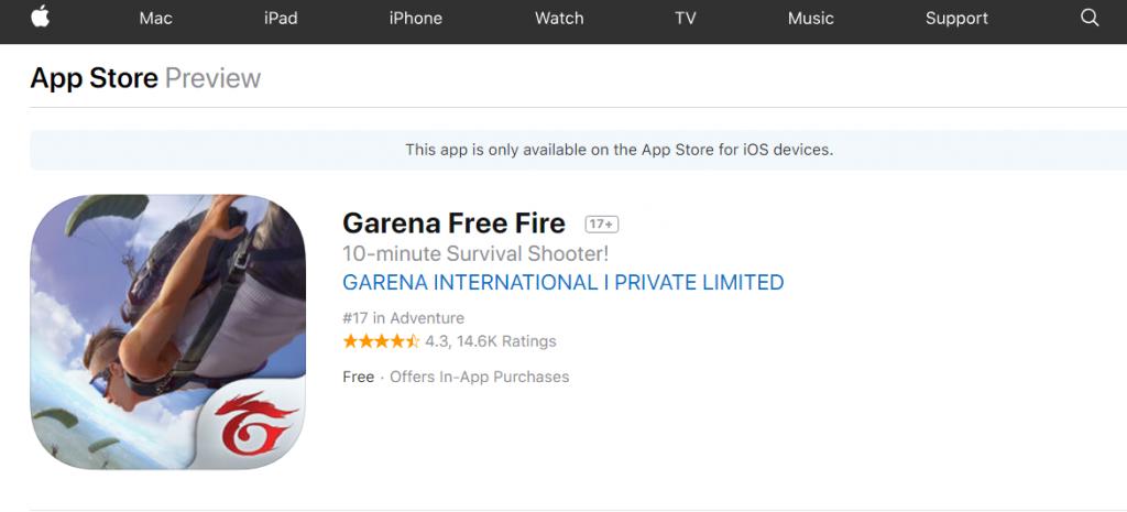 descargar free fire ios