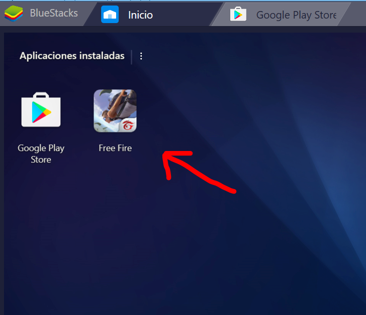 free fire instalado en el emulador android para laptop windows